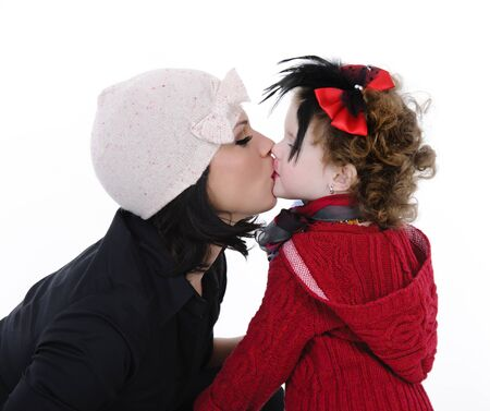 beautiful mother with her daughter studio shoot Stock Photo
