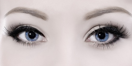 beautiful woman blue eyes macro shoot photo