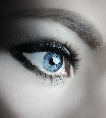 woman eyeball: beautiful woman blue eyes macro shoot Stock Photo