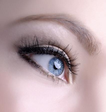 beautiful woman blue eyes macro shoot photo