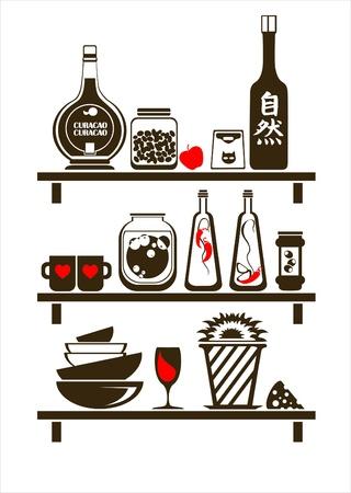 glass shelves: Kitchen Shelves Illustration