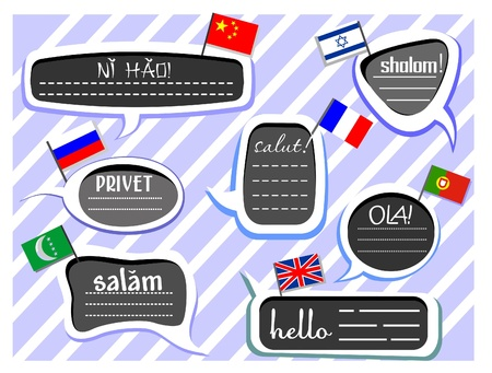 spanish flag: Different Language Greetings in Speech Bubbles Illustration
