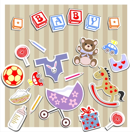 block letters: Baby Birth Greeting Card Illustration