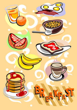 bacon and eggs: Breakfast menu Pictures Illustration