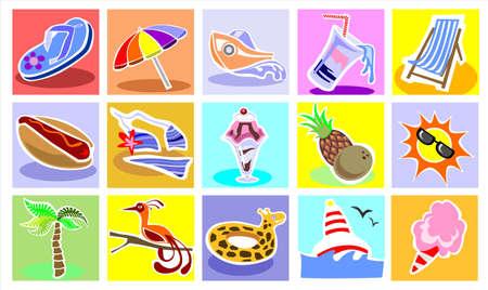 algodon de azucar: Iconos de vacaciones Conjunto