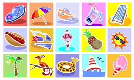 cotton candy: Vacation Icons Set Illustration