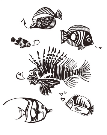 Monochrome tropical Fishes Vector