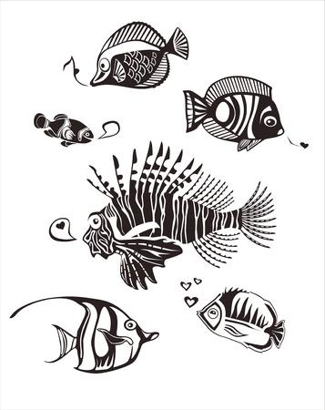 peces de agua salada: Monocromo peces tropicales Vectores