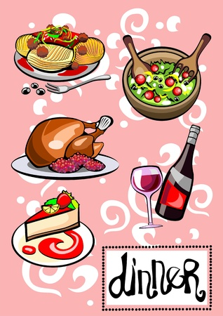 dessert buffet: Different Food and Drinks Dinner Menu Pictures Illustration