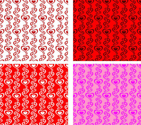 Heart Rows Ornament Seamless Texture Vector Background Vector