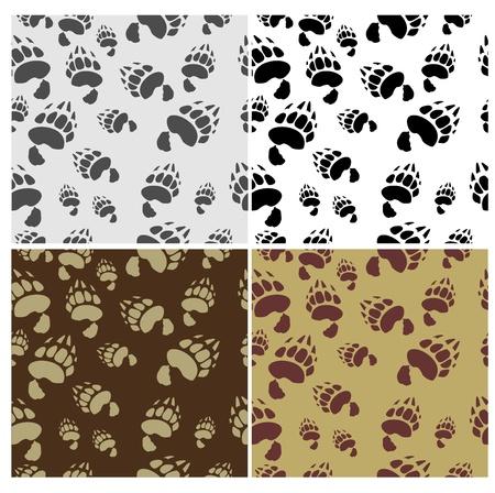 bear silhouette: Bear tracks Seamless Texture 4 variants Vector Background Illustration