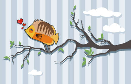 Twitting Fish in Love on a Brunch Vector
