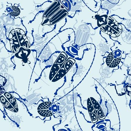 beetles: seamless blue bug pattern background vector illustration