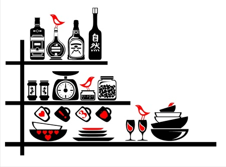 wall sticker black and red kitchen shelves