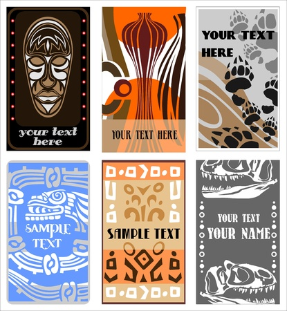 paper mask: set of six information cards ancient and ethnic design vector