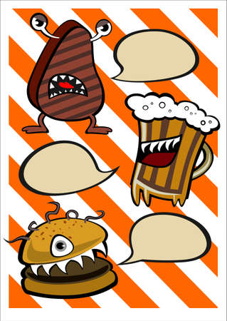funny steak beer and burger with speech bubble Illustration