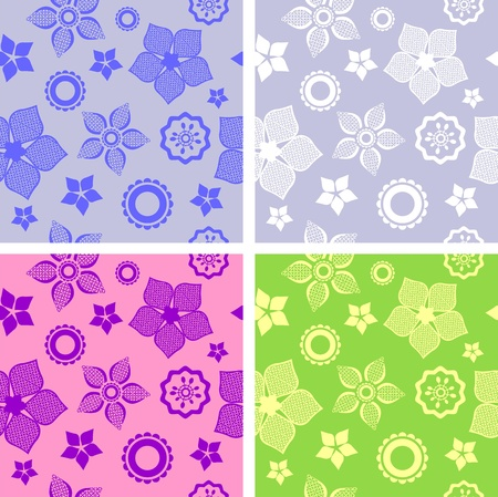 seamless flower pattern four different color variations Stock Vector - 13037233