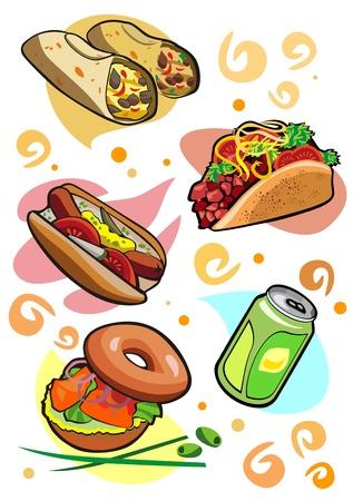 Tasty snacks burrito taco bagel lemonade hot dog