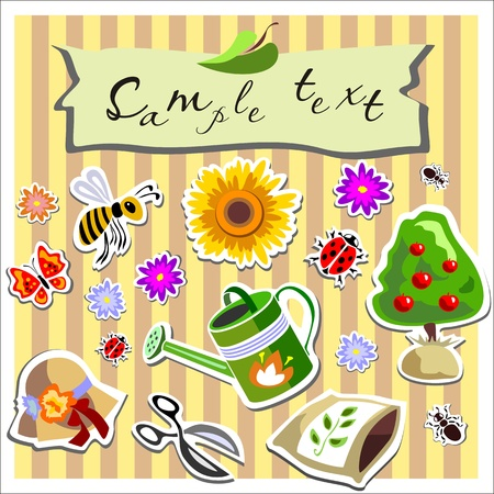 gardening scrapbook elements Stock Vector - 13110698