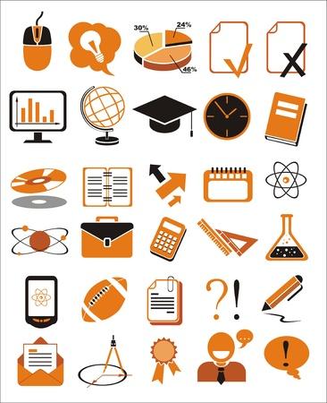 rekenmachine: 30 onderwijs pictogrammen vector illustratie set Stock Illustratie