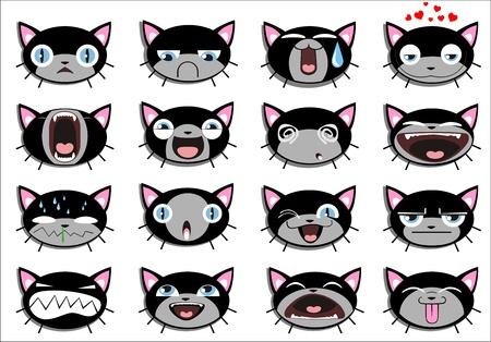 gato caricatura: Conjunto de 16 caras sonrientes del gatito. todos agrupados