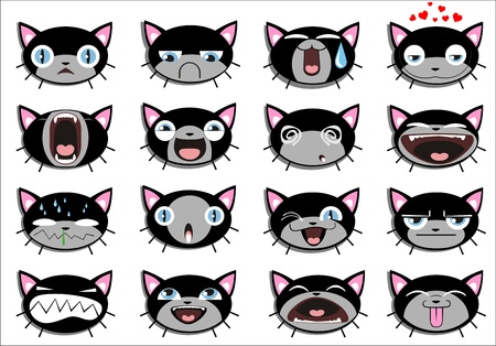 kitten cartoon: Set of 16 smiley kitten faces. all grouped