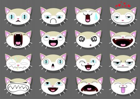 gato dibujo: Conjunto de 16 caras sonrientes del gatito. todos agrupados