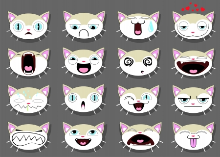 Set of 16 smiley kitten faces. all grouped Vector