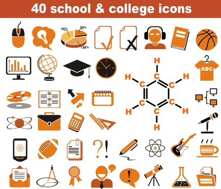40 school and college icons black and orange Vector