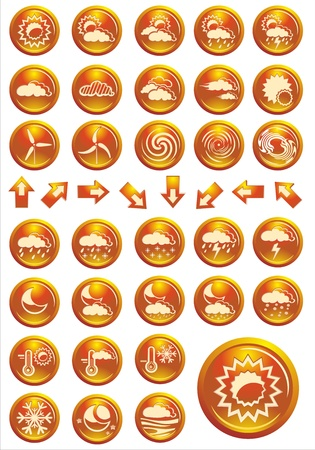 weather icon set orange shiny buttons Vector