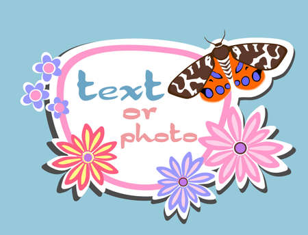 greeting card or photo frame flowers butterfly Illustration
