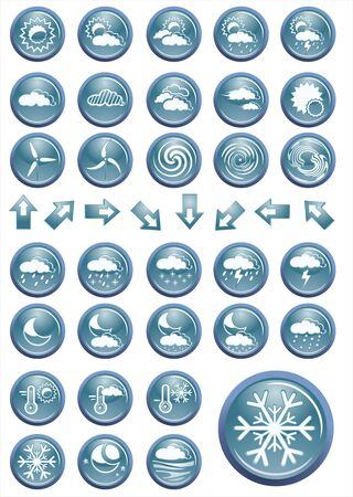 weather icons set blue shiny round buttons Stock Vector - 13803425
