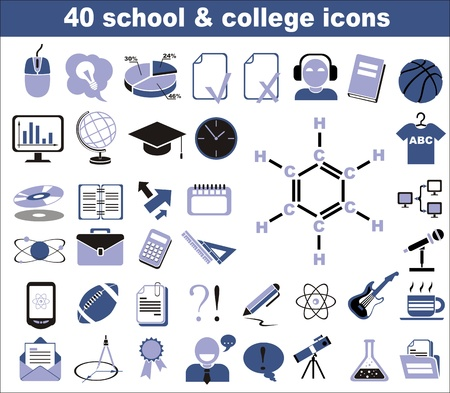 40 school and college icons in blue and black Stock Vector - 13803389