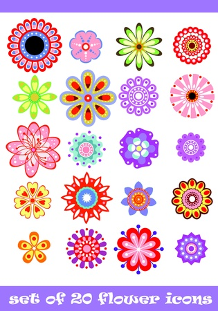 fantasy makeup: 20 isolated decorative colorful flower set Illustration