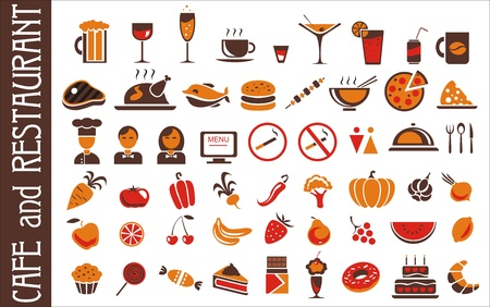 food and drink icons set for white background Illustration