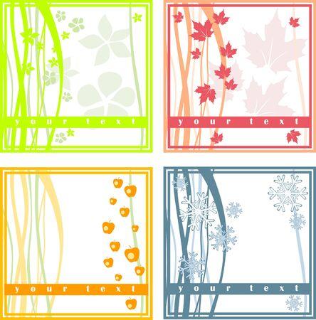 winter garden: 4 simple spring summer fall winter cards Illustration
