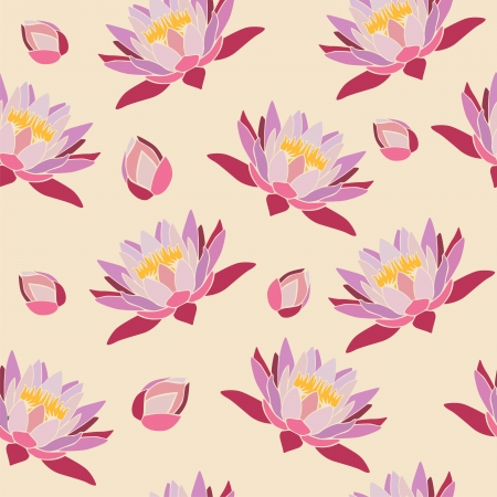 retro seamless lotus buds wallpaper backdrop background Vector
