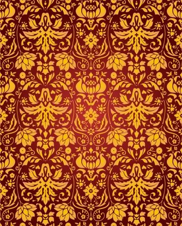 seamless vintage background wallpaper red and golden Vector