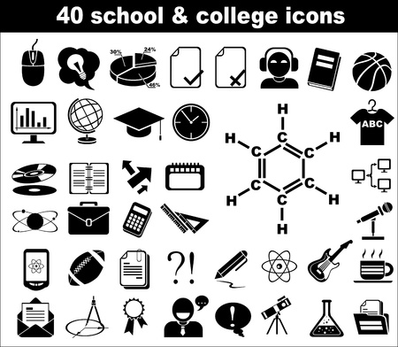40 school and college icons in black Stock Vector - 13907634