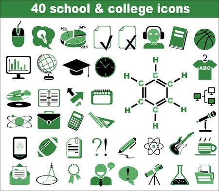 40 school and college icons in green Stock Vector - 13907635