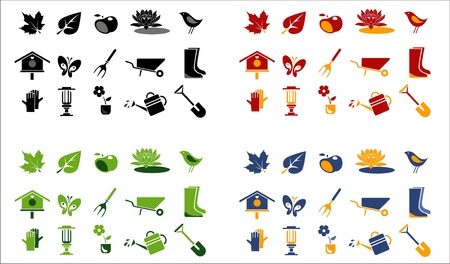 gardening and landscape icons. 4 color variations
