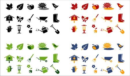 tuin-en landschap pictogrammen. 4 kleurvarianten