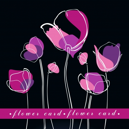 Flower background or greeting card with tulips - vector illustration