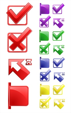 Check marks, arrows, tags. 4 colors. Vector illustration