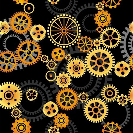 seamless vector pattern- gears on dark background Vector