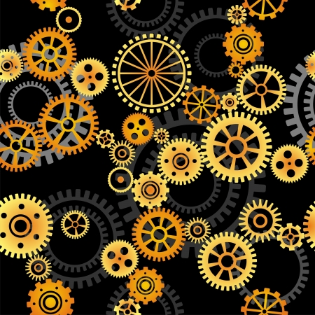clockworks: seamless vector pattern- gears on dark background