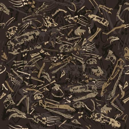 naadloze grungy dinosaurus botten patroon Stock Illustratie