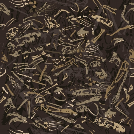 t bone: seamless grungy dinosaur bones pattern Illustration