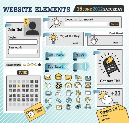 interface menu tool: web elements Illustration