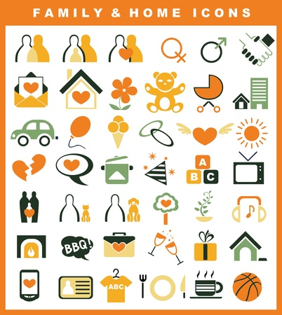 family and home icons Vector